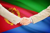 picture of eritrea  - Businessmen shaking hands with flag on background  - JPG