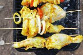 image of charcoal  - fresh raw roast shish kebab on barbecue grill grid coocked over hot charcoal - JPG