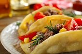 stock photo of tacos  - Mexican food Tacos in plate - JPG