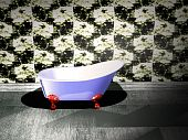 image of lavabo  - modern bathroom in black and white color - JPG
