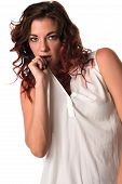 pic of blouse  - Tall slim brunette with red highlights in a cream blouse - JPG