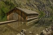 pic of dock a pond  - Boat dock hangar at Obersee Berchtesgaden Germany Bavaria - JPG