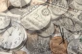 stock photo of american money  - Clocks and American currency - JPG