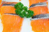 stock photo of redfish  - fresh raw salmon fillet ready to cook - JPG