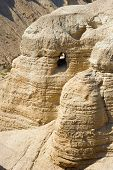 stock photo of scroll  - The scrolls cave of Qumran in Israel where the dead sea scrolls have been found - JPG