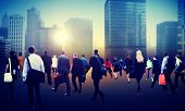 image of hustle  - Commuter Business District Walking Crowd Cityscape Concept - JPG