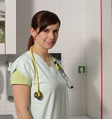 picture of icu  - Portrait female nurse in ICU in the green uniform - JPG