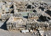 image of synagogue  - Ruins of the great synagogue of Capernaum Israel - JPG