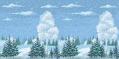 image of snow clouds  - Seamless Horizontal Christmas Winter Forest Landscape with Birch - JPG
