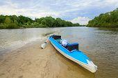 stock photo of kayak  - Kayak on the shore of the island tourism - JPG