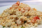 stock photo of scrambled eggs  - Chinese rice with shrimps - JPG