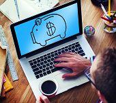 picture of economizer  - Piggy Bank Saving Money Economize Profit Concept - JPG