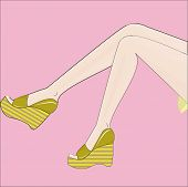 image of stocking-foot  - original and beautiful female feet in stylish and modern shoes - JPG