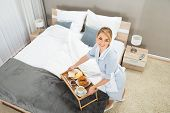 picture of trays  - High Angle View Of Maid With Breakfast Tray In Hotel Room - JPG