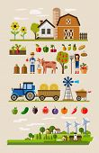 image of dairy barn  - vector illustration of Agriculture and Farming icons - JPG