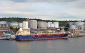 picture of fuel tanker  - Oil tanker in industrial port of Stockholm in Sweden - JPG