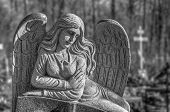 picture of hells angels  - Tomb sculpture of a sad angel at cemetery - JPG