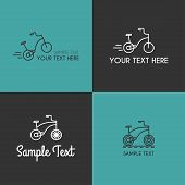 stock photo of tricycle  - Set of Line Art Badge or Logo Templates with Children Tricycle - JPG