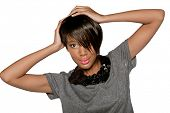 image of pixie  - beautiful young African woman with short pixie crop hairstyle on studio background - JPG