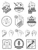 pic of battle  - Set of vector badges and stickers Hip Hop and Rap music - JPG