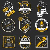 stock photo of rapper  - Set of vector badges and stickers Hip Hop and Rap music - JPG