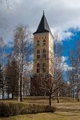 stock photo of city hall  - City Hall on the background of blue sky among the birches in the city of Lappeenranta Finland - JPG