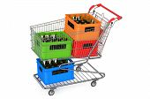 stock photo of crate  - shopping cart with crates beer isolated on white background - JPG