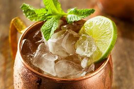 picture of vodka  - Icy Cold Moscow Mules with Ginger Beer and Vodka - JPG