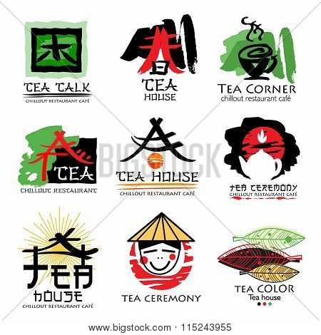 Oriental Tea Character Chinese Signs Symbols Ink In Manual Drawing Set Logo Element Hand Drawn With Style Poster