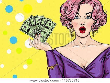Pop Art girl with the money.Pop Art girl. Birthday greeting card. Hollywood movie star.