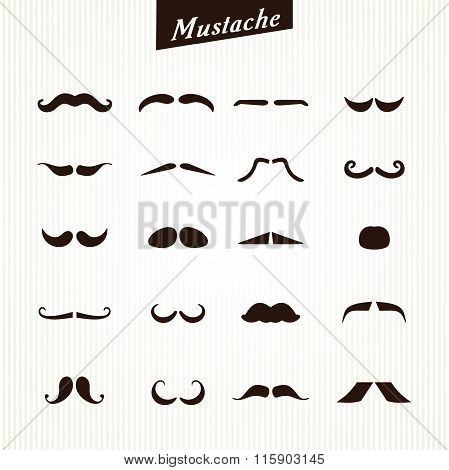 Set of mustaches isolated