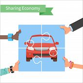 Car share concept. Sharing economy and collaborative consumption vector Illustration. Hands holding poster