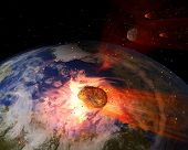Постер, плакат: Asteroid Impacting Earth