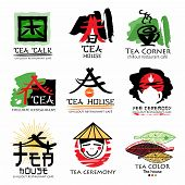 Постер, плакат: Tea house logo Tea ceremony sign logo Green tea logo