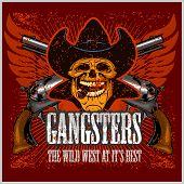 Постер, плакат: Gangster skull with cowboy hat and pistols