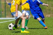 Постер, плакат: Children Playing Soccer Football Match