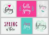 Постер, плакат: Hello Spring Typography Set