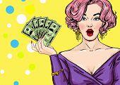 Pop Art girl with the money.Pop Art girl. Birthday greeting card. Hollywood movie star. poster
