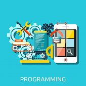 Постер, плакат: App Development Programming Concept