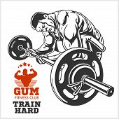 Постер, плакат: Bodybuilder and Bodybuilding Fitness logos emblems Sports icons Isolated on white