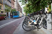 Rental Of Electric Bicycles In City poster
