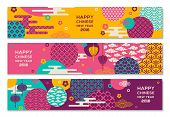 Horizontal Banners Set With Chinese Geometric Ornate Shapes poster