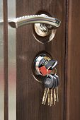 Door Handle And Keys In Keyhole poster
