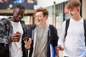 Three Male College Students Reading Text Message On Mobile Phone poster