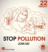 stock photo of nuclear family  - stop pollution  - JPG