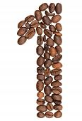 Arabic Numeral 1, One, From Coffee Beans, Isolated On White Background poster