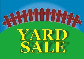 foto of yard sale  - Yard sale sign in the backyard of the house - JPG