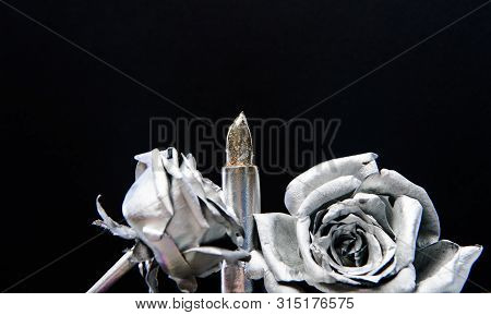 poster of Glamour Life. Silver Rose Flower. Grunge Beauty Fashion. Isolated On Black. Metallized Antique Decor