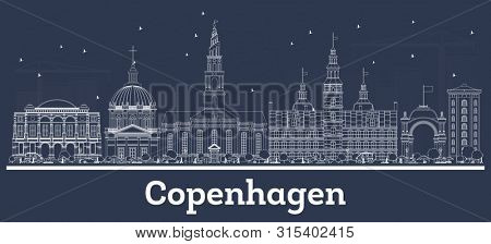 poster of Outline Copenhagen Denmark City Skyline with White Buildings. Business Travel and Tourism Concept wi