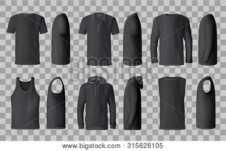 poster of Male Black Shirt Vector Templates, 3d Mockup Of Blank T-shirts From Side And Front Views. Polo, Swea